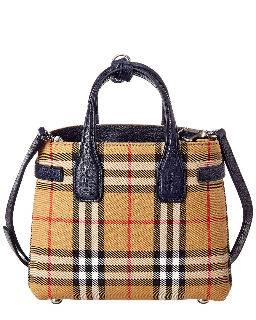 dd5e044da732 Burberry Baby Banner Vintage Check   Leather Shoulder Bag