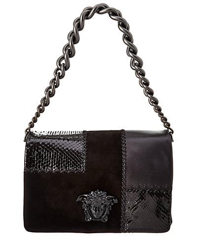 Versace Patchwork Suede & Python Embossed Shoulder Bag