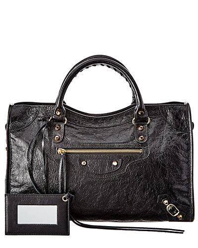 Balenciaga Classic Gold City Medium Leather Shoulder Bag