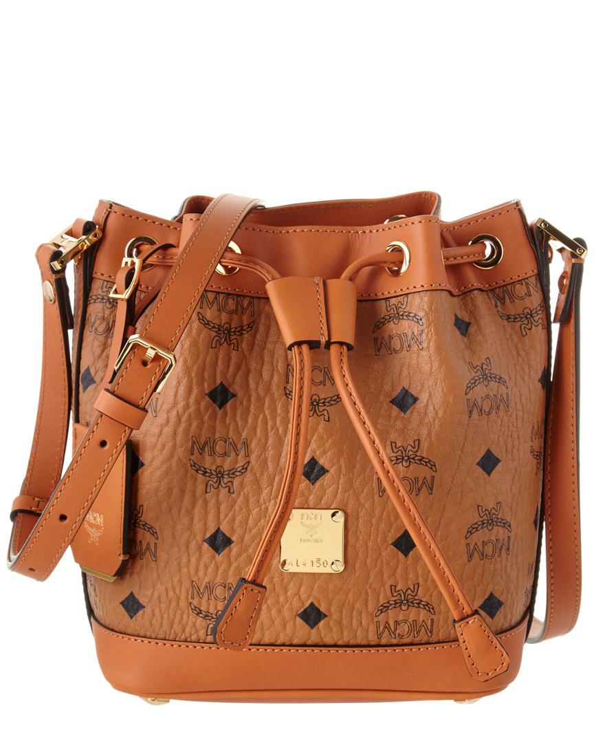 48863a34ae3 Mcm Heritage Mini Canvas & Leather Drawstring Shoulder Bag, Brown ...