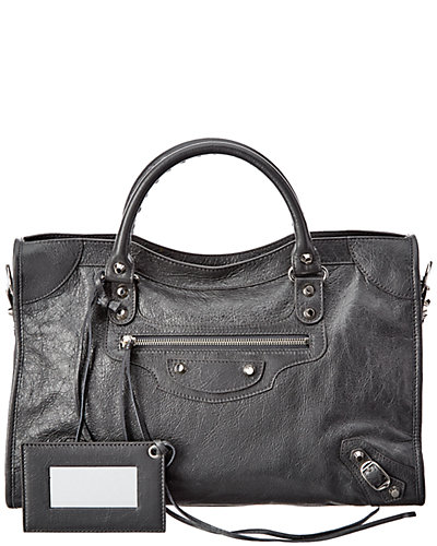 Balenciaga Classic Silver City Medium Leather Shoulder Bag