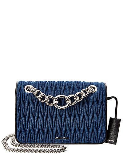 Miu Miu Denim & Chain Shoulder Bag