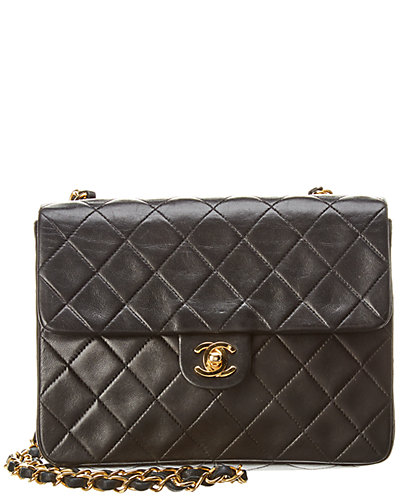 Chanel Black Quilted Lambskin Leather Small Half Flap Bag by Chanel