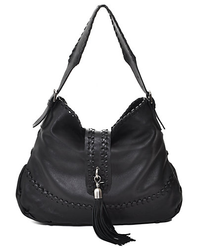 Carla Mancini Leather Tall Whipstitched Shoulder Bag