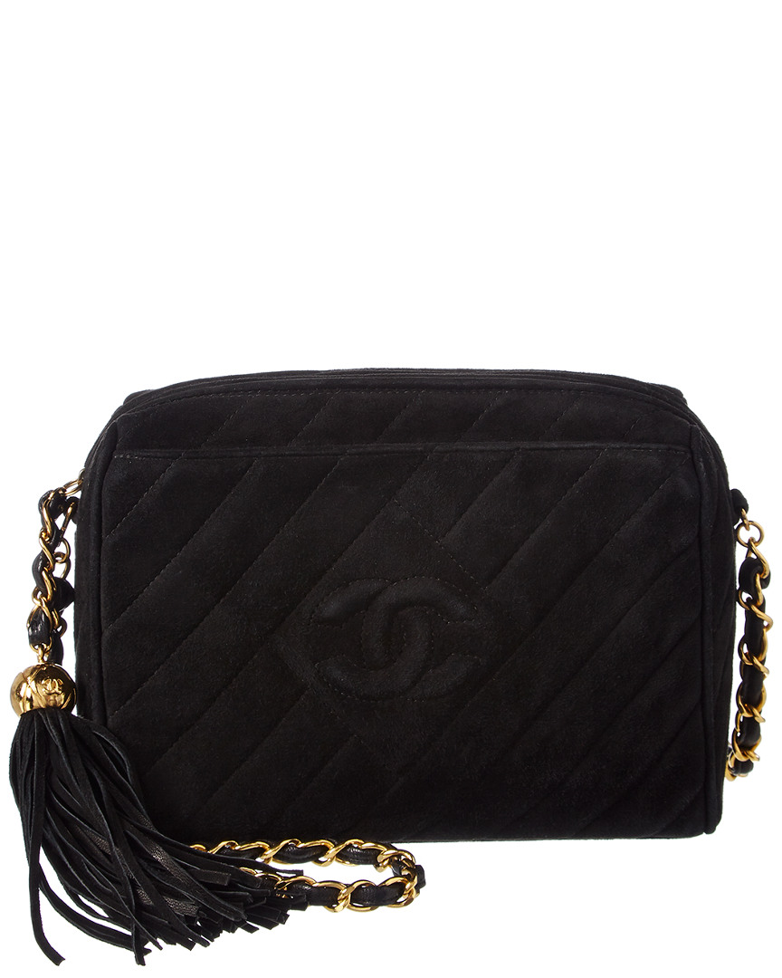 Chanel BLACK QUILTED SUEDE SMALL DIAMOND CAMERA BAG
