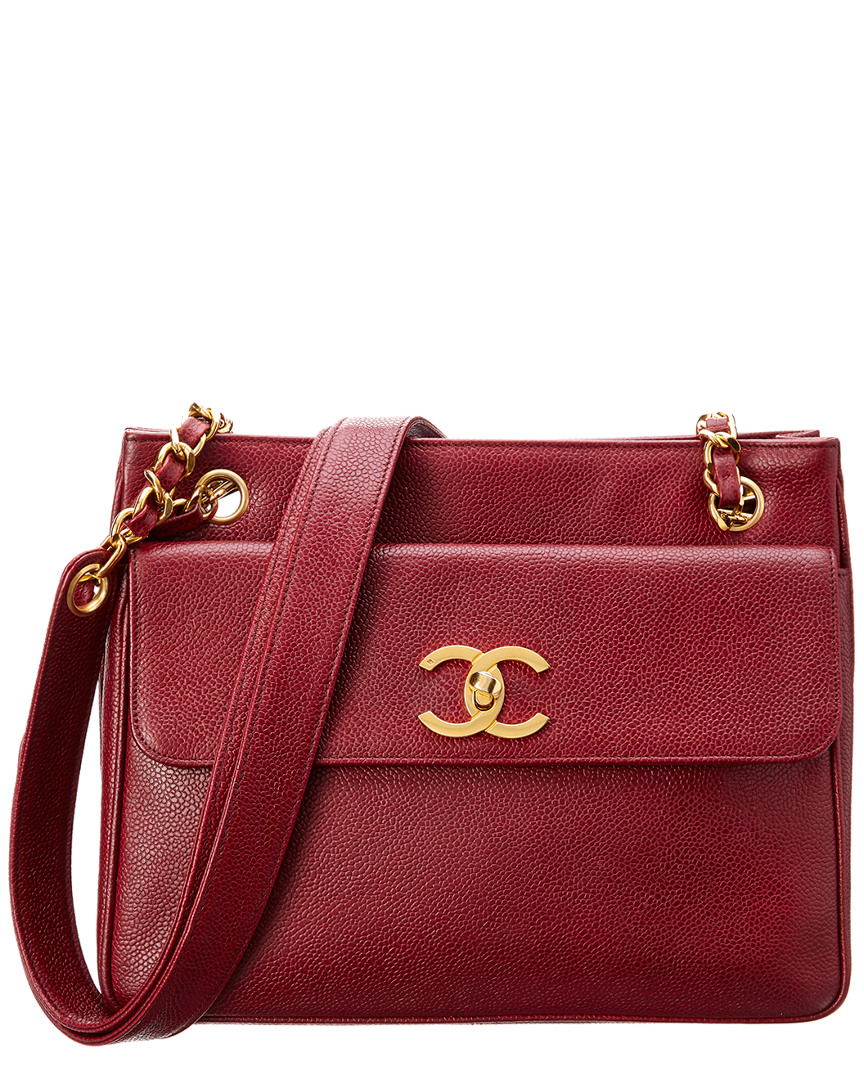 Chanel RED CAVIAR LEATHER POCKET TOTE
