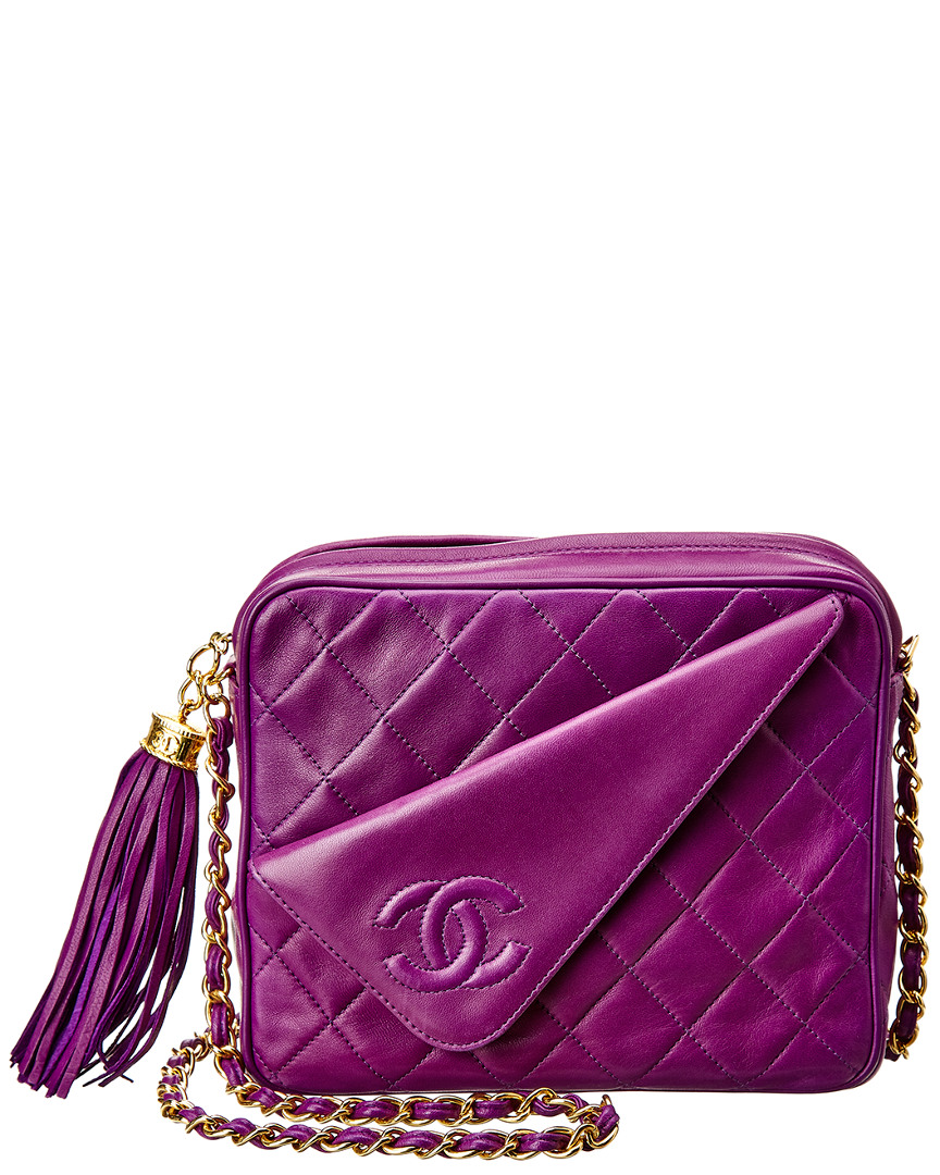 Chanel LIMITED EDITION PURPLE QUILTED CAVIAR LEATHER MEDIUM DIAGONAL CAMERA BAG
