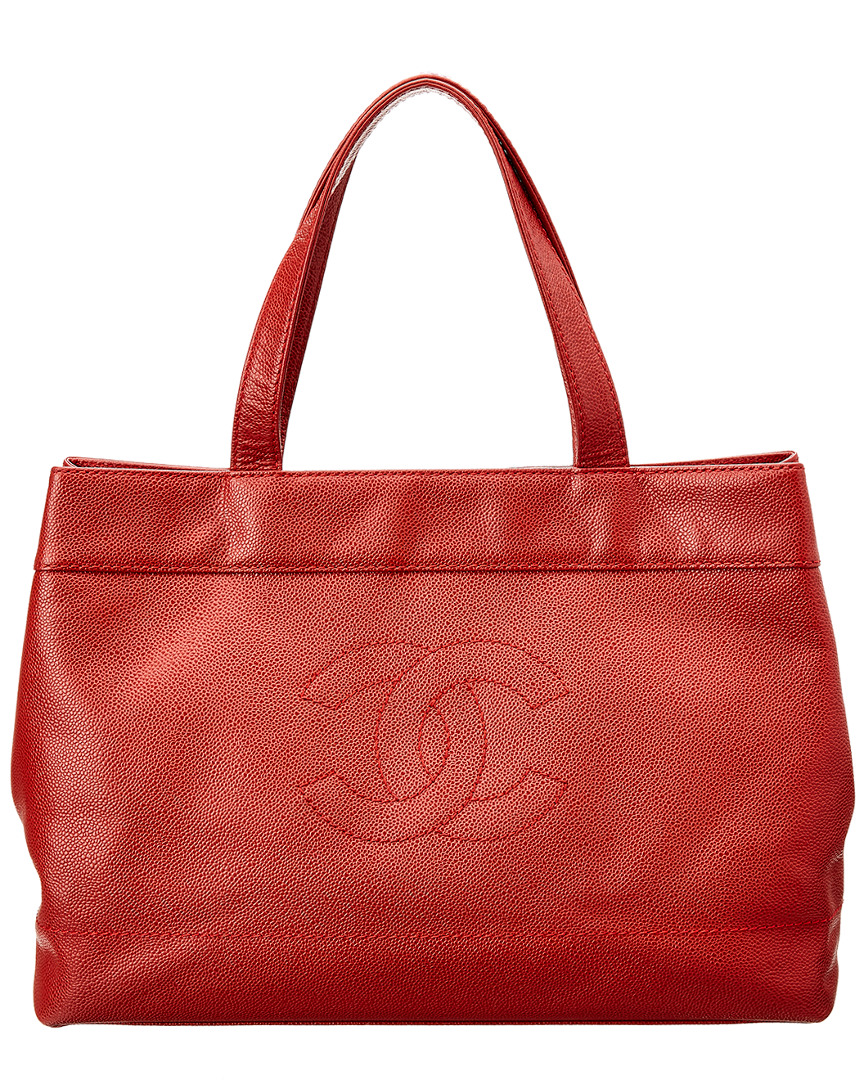 Chanel RED CAVIAR LEATHER LARGE TOTE
