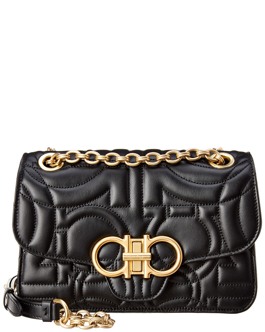 Salvatore Ferragamo Gancini Flap Quilted Leather Crossbody, Black ... f0a925c3ce