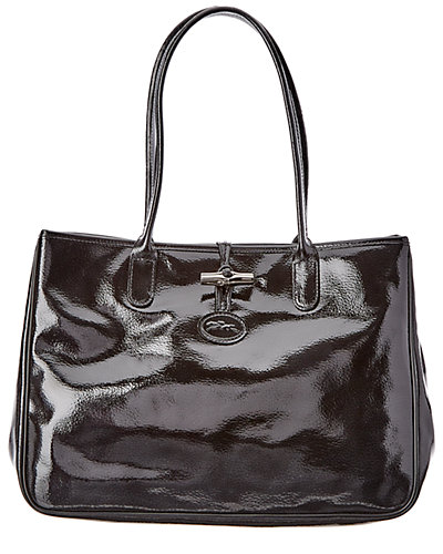 Longchamp Roseau Verni Patent Leather Tote