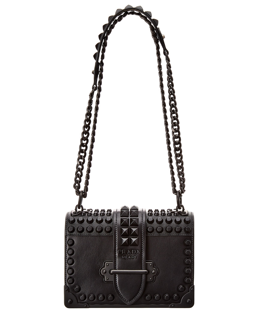 b7b8512ac0b3 Prada Cahier Studded Leather Shoulder Bag