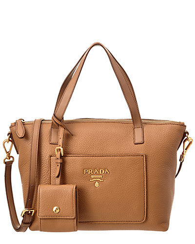 Prada Calf Leather Double Handle Tote Bag