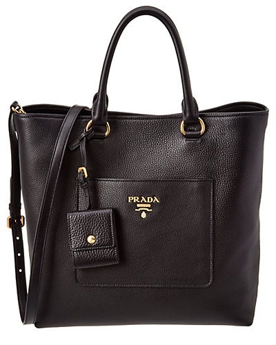 Prada Calf Leather Double Handle North South Tote
