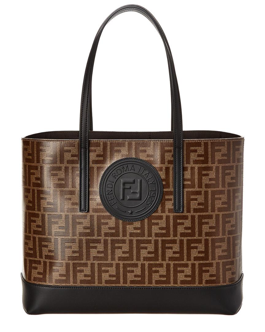 526c23872e Fendi Logo Leather Shopper Tote