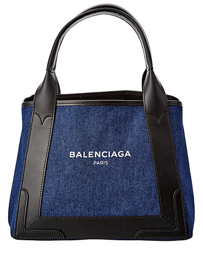 Balenciaga Denim Navy Cabas S Small Leather & Denim Tote
