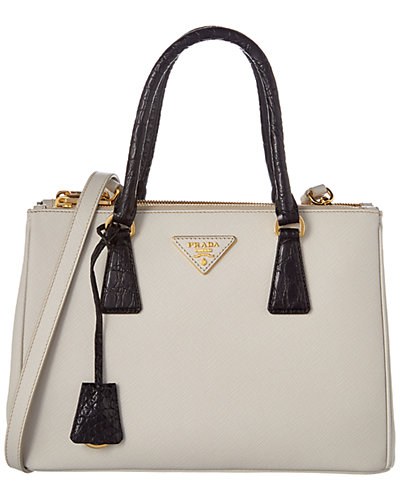 Prada Galleria Saffiano Leather & Crocodile Handle Tote