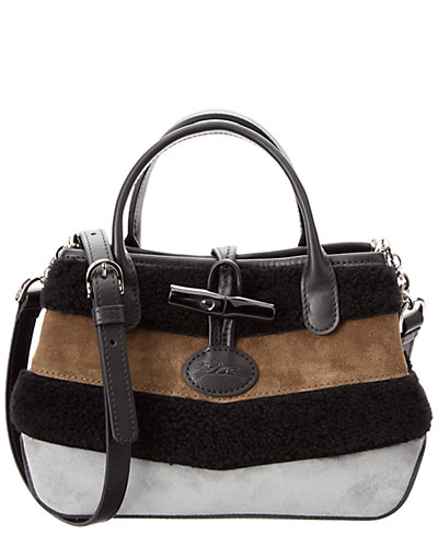 Longchamp Roseau Patch Suede Crossbody