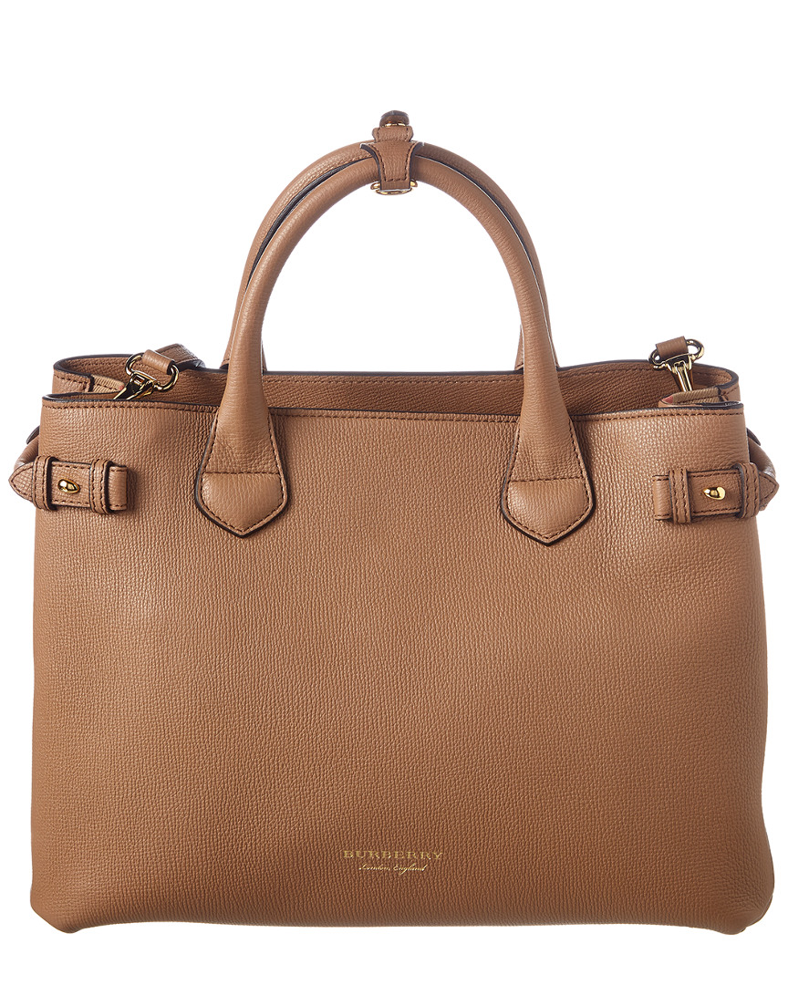 MEDIUM BANNER HOUSE CHECK & LEATHER TOTE