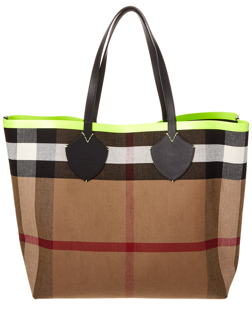 GIANT REVERSIBLE CANVAS CHECK & LEATHER TOTE