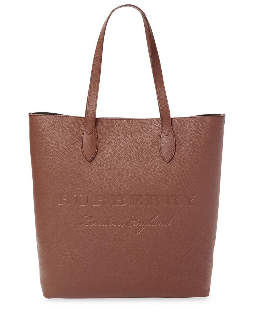 dd6bdb628566 Burberry Remington Medium Logo Embossed Leather Tote In Nocolor ...