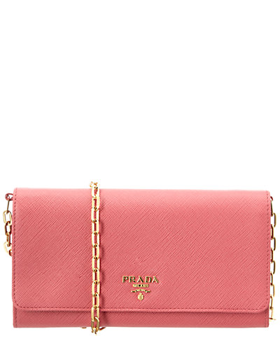 Prada Saffiano Leather Flap Wallet on Chain