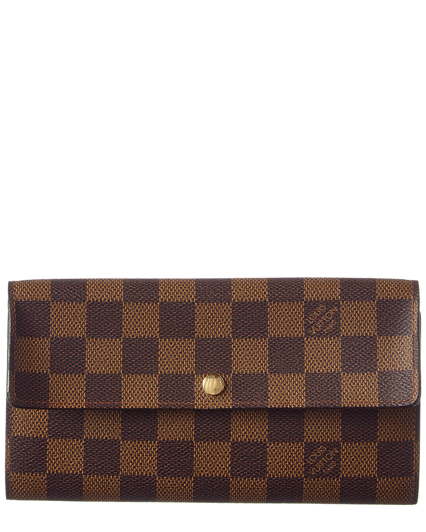 34fe6bca24870 Louis Vuitton Womens Damier Ebene Canvas Sarah Wallet