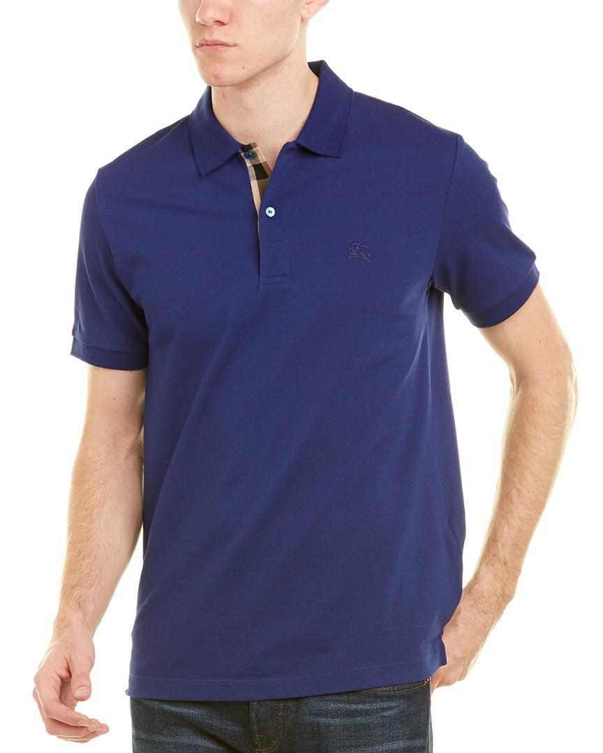 8b083e1cb04e Burberry Check Placket Cotton Pique Polo Shirt In Blue