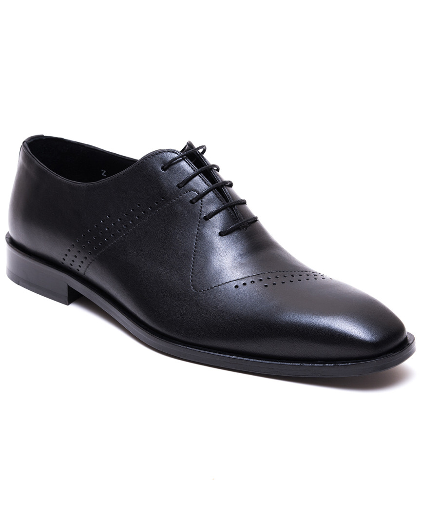 JARED LANG Men'S Antiqued Leather Lace-Up Dress Shoes in Black