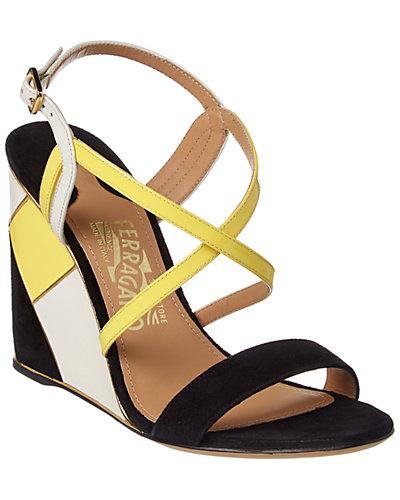 Salvatore Ferragamo Gris Strappy Leather Wedge Sandal