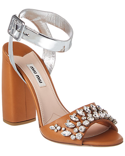 MIU MIU Embellished Leather Sandal