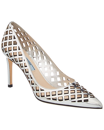 Prada Laser Cut 85 Leather Pump