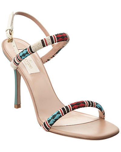 Valentino Bead Embroidered Leather Sandal