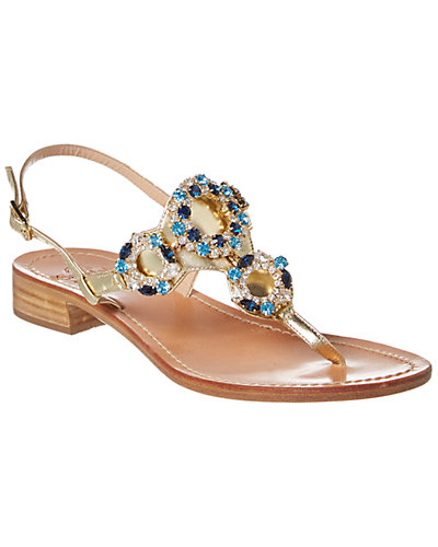il Sandalo of Capri Embellished Metallic Leather Sandal