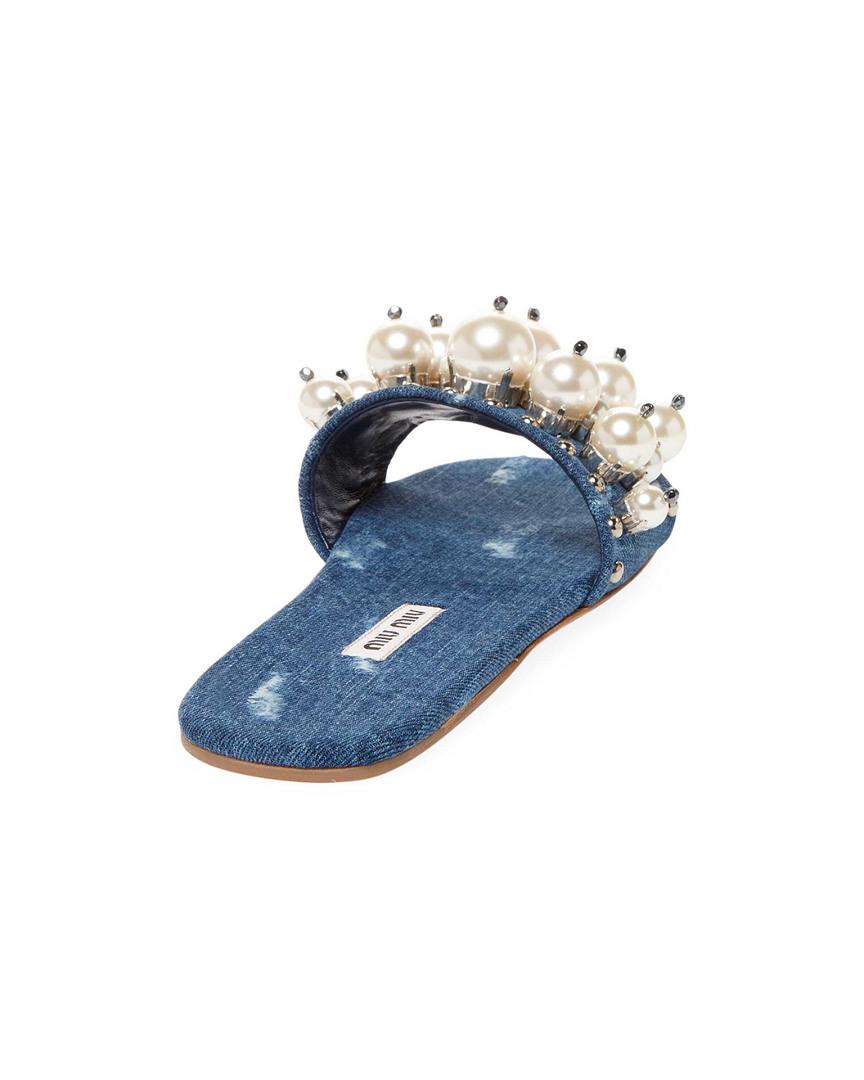 Miu Miu Miu Miu Pearl Embellished Denim Slide Sandal 5c90f5