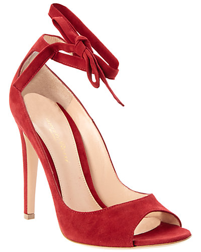 Gianvito Rossi Suede Ankle Wrap Pump