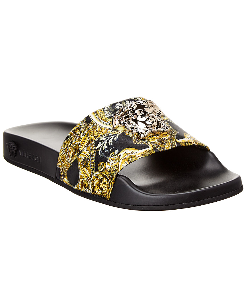 2ceeffcbeb2d0 Versace Barocco Instante Leather Slide Sandal