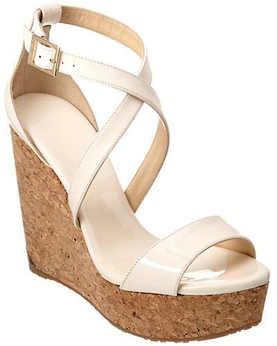 Jimmy Choo Portia 120 Patent Wedge Sandal