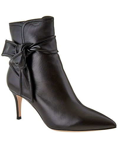 Gianvito Rossi Lane Leather Ankle Wrap Bootie