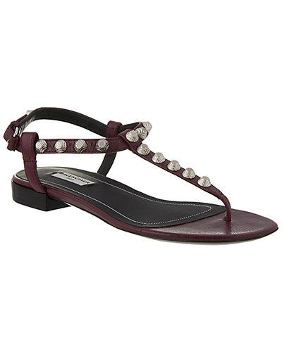 Balenciaga Giant Silver T-Strap Leather Sandals