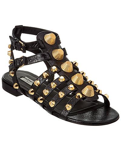 Balenciaga Giant Gold Flat Leather Sandal