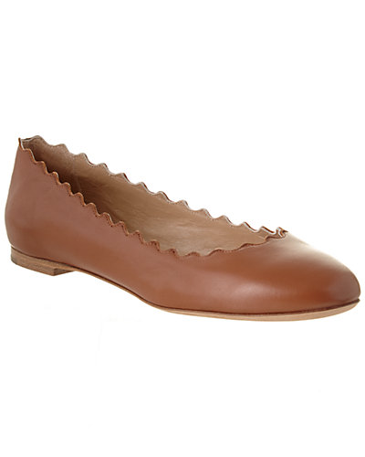 Chloé Lauren Scalloped Leather Ballerina Flat