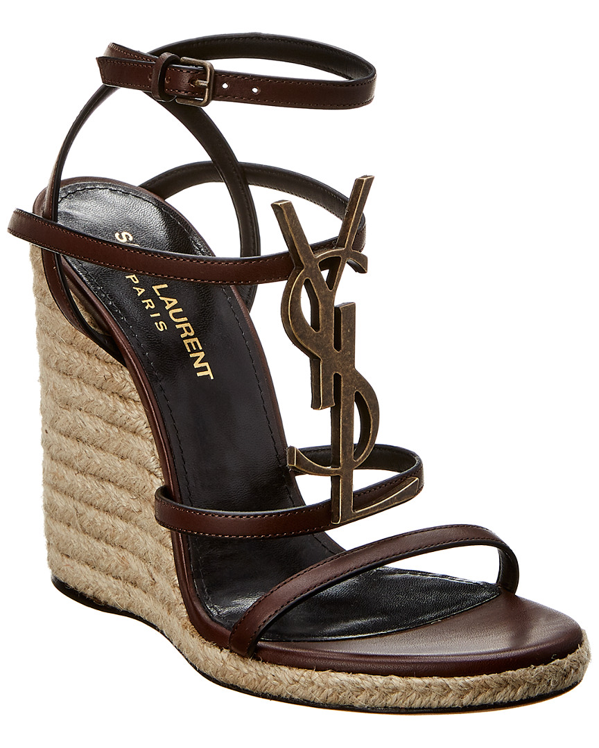 a63cf32f41f Saint Laurent Cassandra Leather Wedge Espadrille Sandal