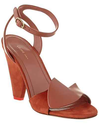CÉLINE Leather Ankle Wrap Sandal