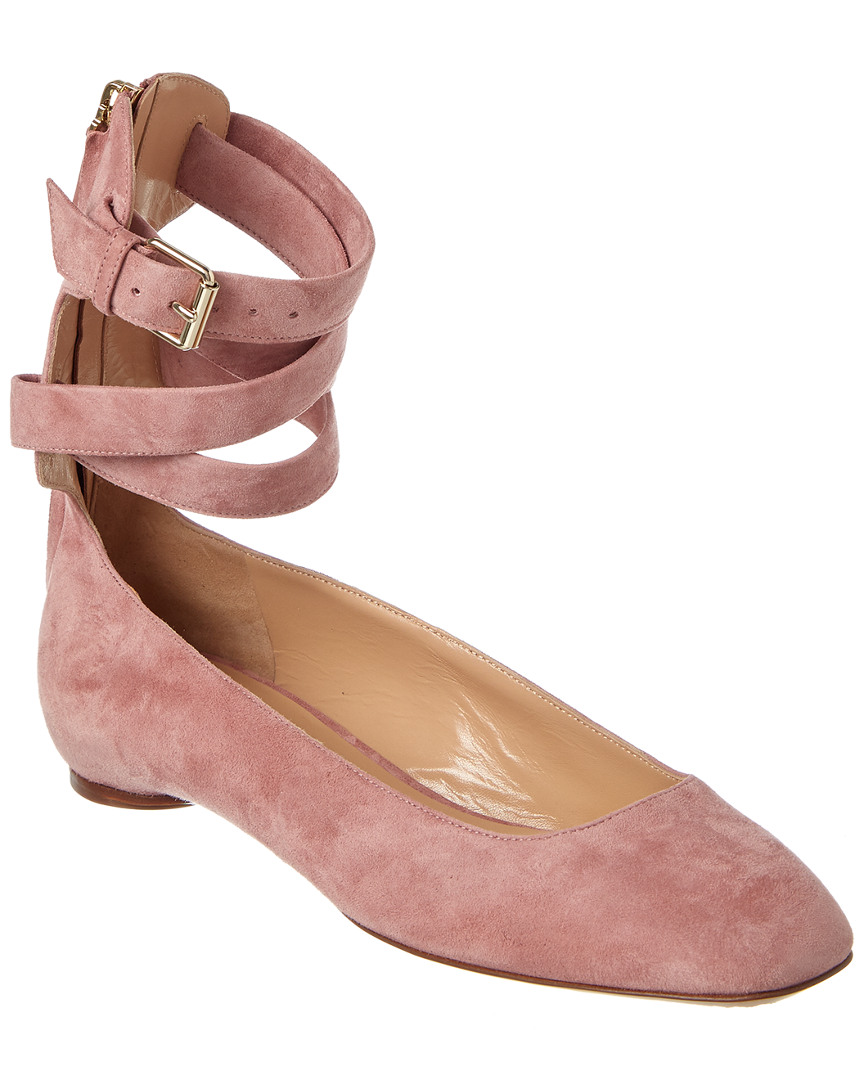 SUEDE ANKLE WRAP BALLERINA FLAT