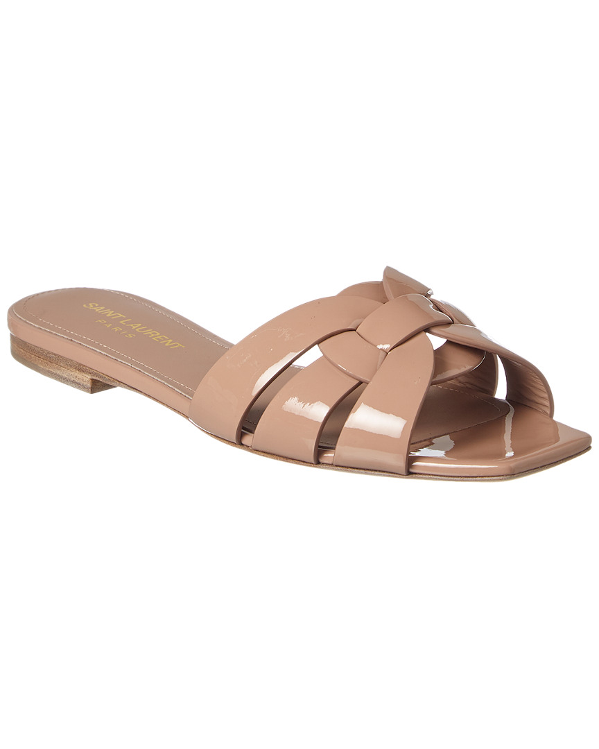 f3b7451c98f Saint Laurent Nu Pieds 05 Tribute Patent Slide Sandal In Beige ...