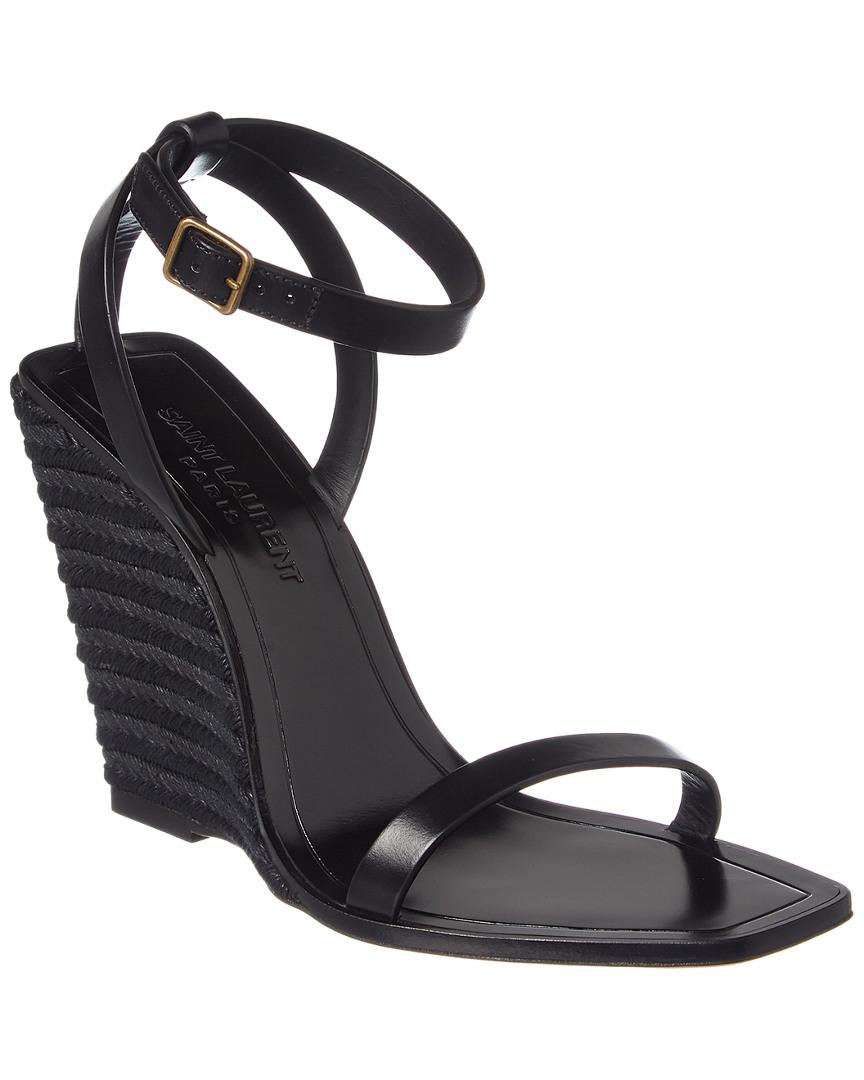 d91d0a4e93f Details about Saint Laurent Leather Espadrille Wedge Sandal Women's Black  38.5
