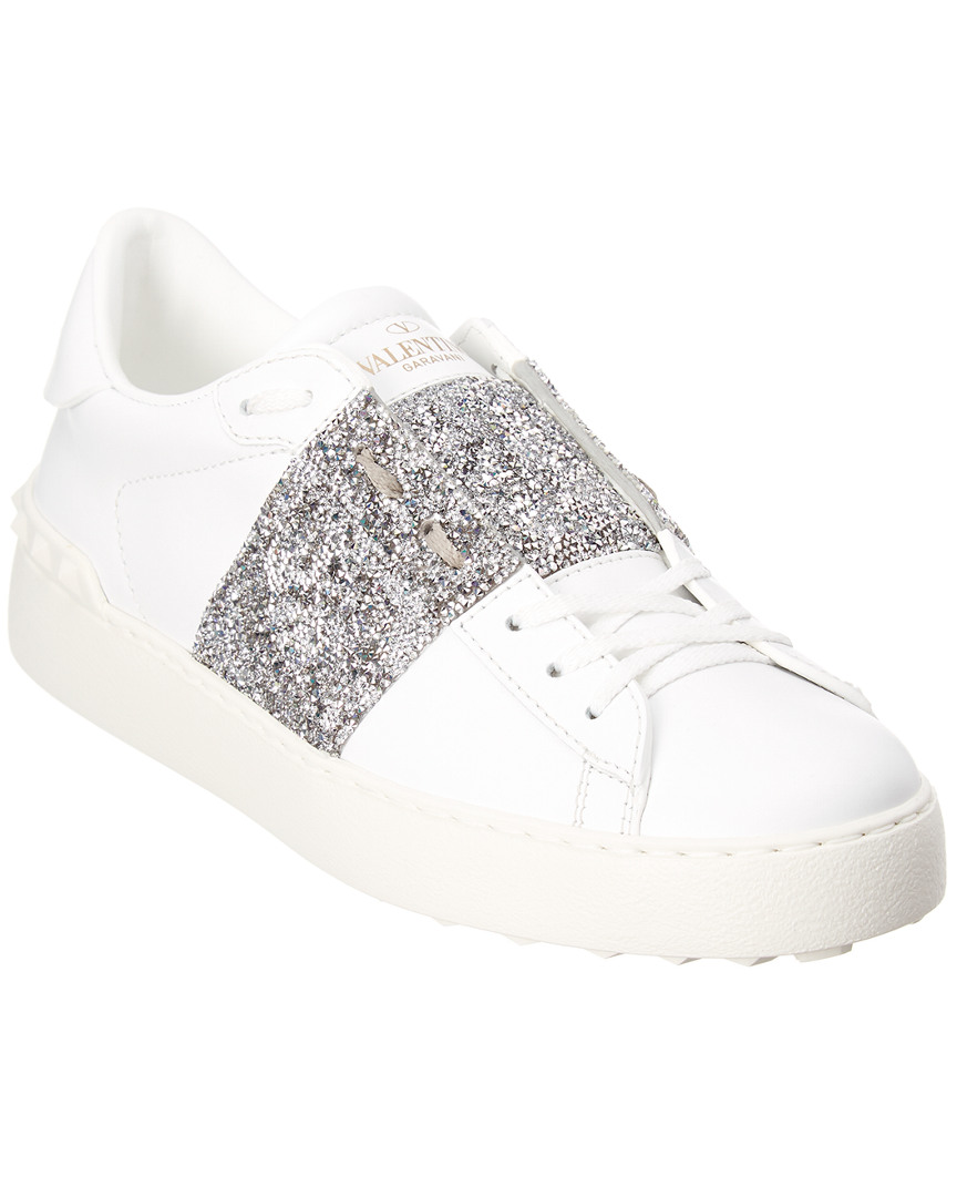 CRYSTAL EMBELLISHED OPEN LEATHER SNEAKER