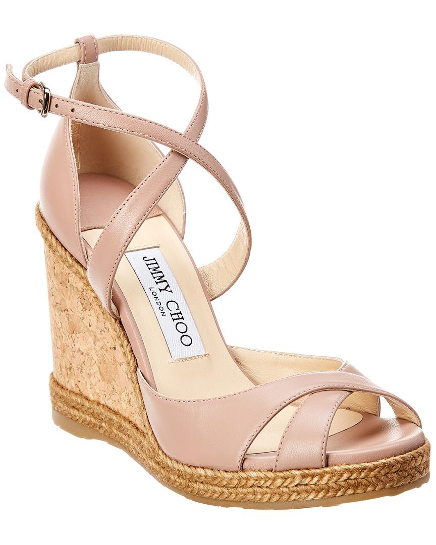 5edfc18ead38 Jimmy Choo Alanah 105 Leather Wedge Sandal