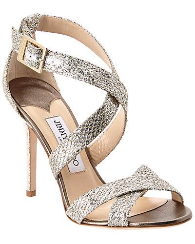 Jimmy Choo Lottie Strappy Glitter Fabric Sandal