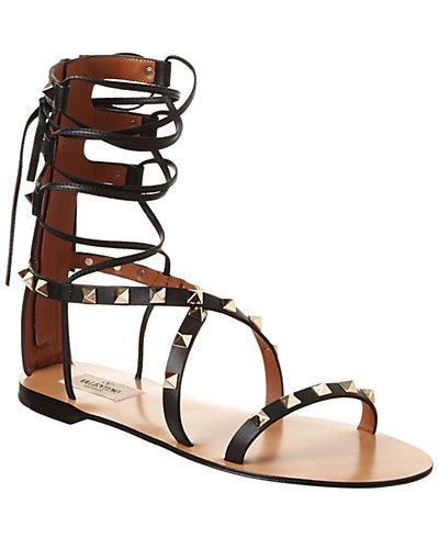 Valentino Rockstud Leather Gladiator Sandal